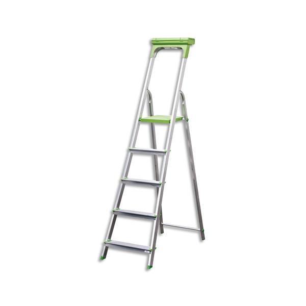 SAFETOOL Escabeau 5 marches, structure aluminium avec porte-outils vert - L94,5 x H174 x P45 cm (photo)
