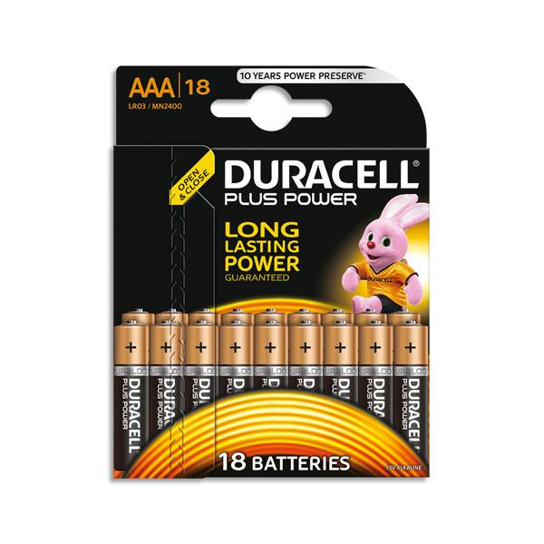 DURACELL Blister de 18 Piles Alcaline 1,5V AAA LR3 Plus Power (photo)