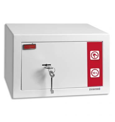 RESKAL Coffre de sécurité SM1 Premium 9,9 litres Blanc, 2 clés fournies - L31 x H20 x P20 cm