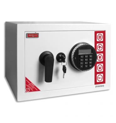 RESKAL Coffre de sécurité SE2 Premium 16,5 litres Blanc, serrure électronique - L35 x H25 x P25 cm