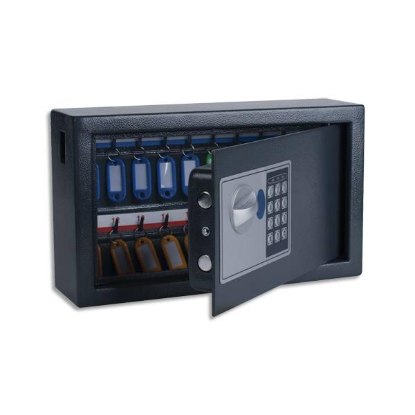 PAVO Armoire à clés électronique Gris foncé, capacité 20 clés - L34,7 x H20,5 x P14,7 cm (photo)