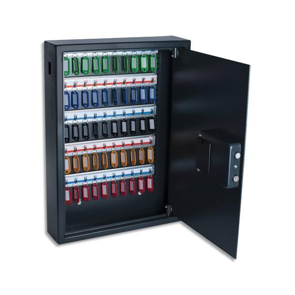 PAVO Armoire à clés électronique Gris foncé, capacité 50 clés - L55 x H40 x P10 cm (photo)