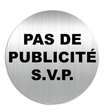 """VISO Plaque de signalisation """"Pas de Publicité s.v.p."""" en aluminium, bande autocollante au dos, D8 cm"""