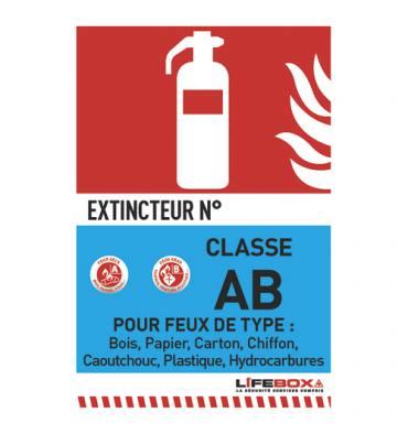 LIFEBOX Panneau de signalisation classe feu AB présence d'extincteur à eau pulvérisée