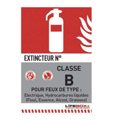 LIFEBOX Panneau de signalisation classe feu B présence d'extincteur CO2