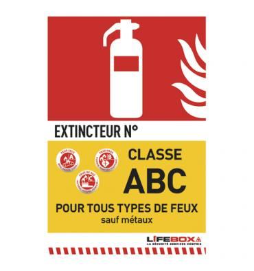 LIFEBOX Panneau de signalisation classe feu ABC présence d'extincteur à poudre