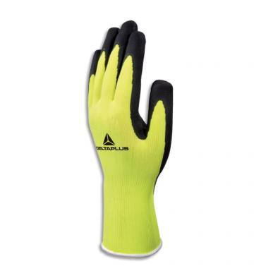 DELTA PLUS Paire de gants Apollon Jaune fluo Noir en polyester, enduction latex naturel, Taille 9