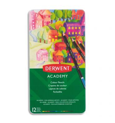 DERWENT ACADEMY Academy Boîte de 12 crayons de couleur, couleurs assorties