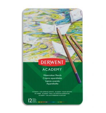 DERWENT ACADEMY Boîte de 12 crayons de couleur aquarellables couleurs assorties assortis