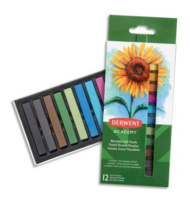 DERWENT ACADEMY Set de 12 pastels tendres, couleurs assorties