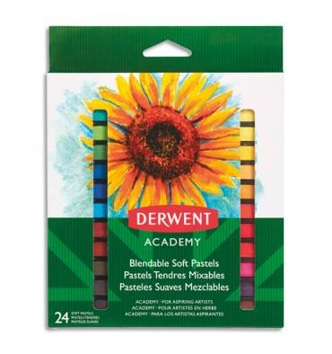 DERWENT ACADEMY Set de 24 pastels tendres, couleurs assorties