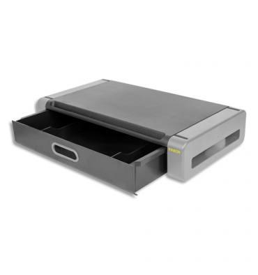 KINEON Support moniteur Deluxe avec tiroir Noir/Gris