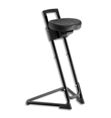 Siège technique assis-debout en polyuréthane Noir, rotation assise et en assiette, poignée de préhension