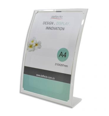 DEFLECTO Porte-affiche incliné vertical A4 forme bombé blanc - L23,3 x H31 x D9 cm
