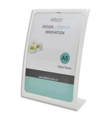 DEFLECTO Porte-affiche incliné vertical A5 forme bombé blanc - L17 x H23 x D7,5 cm