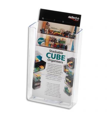 DEFLECTO Porte-brochures transparent à dos plat vertical - 1/3 A4 - L11,2 x H16,5 x P4,3 cm