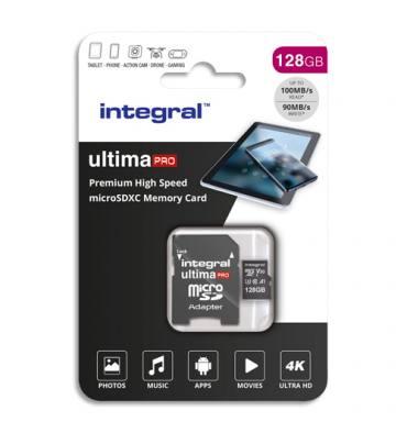 INTEGRAL Carte Micro SDXC + adaptateur 128Go Class 10 V10 INMSDX128G-100/90V30