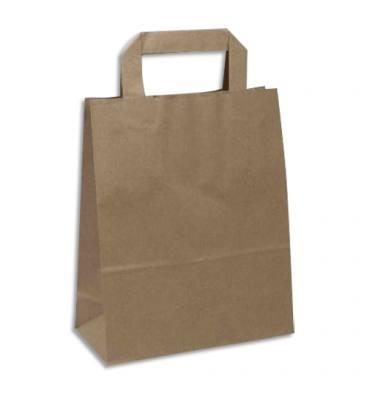 EMBALLAGE Paquet de 250 Sacs papier Kraft recyclé Brun, 70g, 8 kg, poignées plates