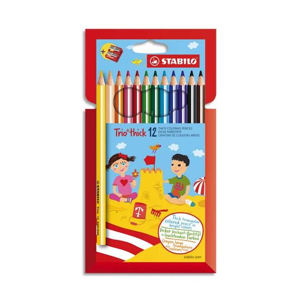 STABILO Pochette 12 crayons de couleur TRIO assortis. Corps triangulaire. Avec 1 taille-crayon.