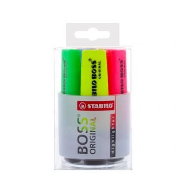 STABILO Pot à crayons garni de 6 surligneurs pointe biseautée assortis BOSS