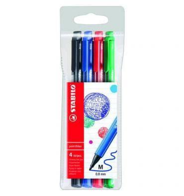 STABILO Pochette 4 feutres d'écriture pointMax, pointe moyenne. Coloris assortis