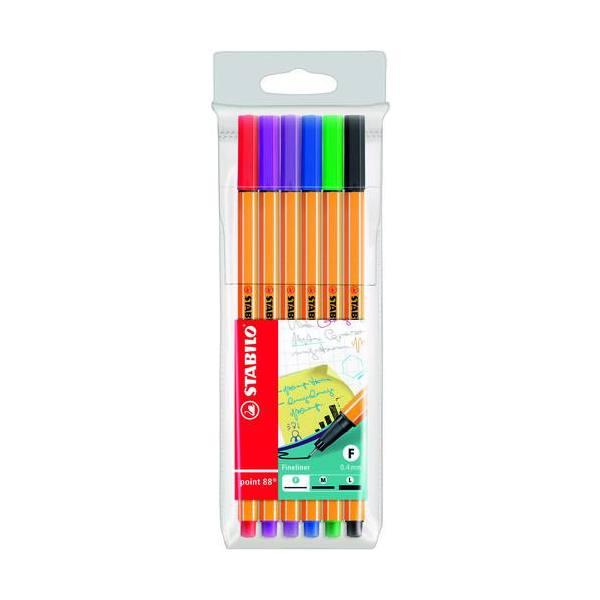 STABILO Pochette de 6 stylos feutres POINT 88, pointe fine 88/6, coloris assortis