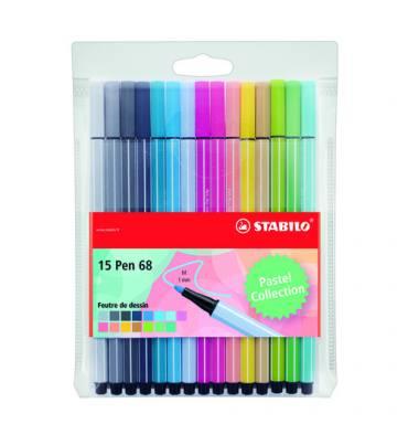 STABILO Pochette de 15 feutres de coloriage Pen 68 coloris pastel assortis