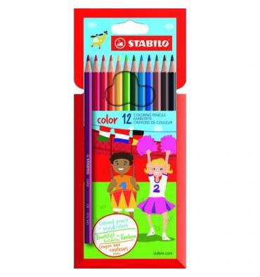STABILO Pochette de 12 crayons de couleur COLOR. Corps hexagonal. Coloris assortis dont 2 fluo
