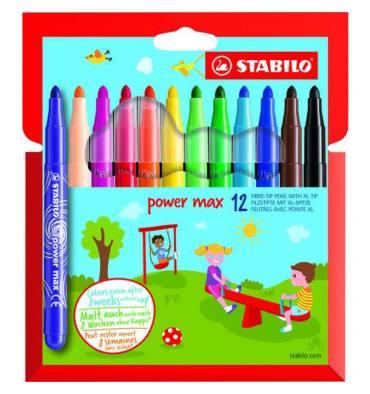 STABILO Pochette 12 feutres de coloriage POWER MAX. Pointe large. Coloris assortis
