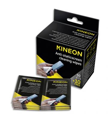 KINEON Boîte de 60 lingettes écrans antistatiques (50 unités + 10 offertes)