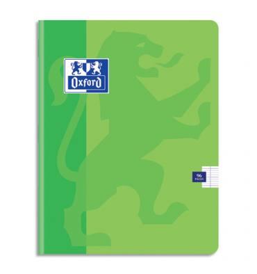 OXFORD Cahier Color'Life piqûre 96 pages Seyès 21 x 29,7 cm. Couverture carte coloris vert