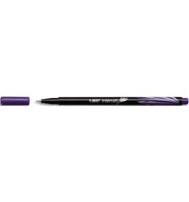 BIC Stylo feutre Intensity, baguée métal, pointe ultra fine 0,4 mm, coloris violet
