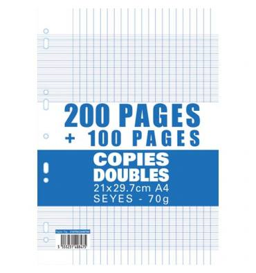 NEUTRE Lot de 200 copies doubles+100 gratuites, A4, Séyès 70g perforées