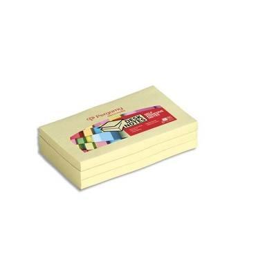 PERGAMY Bloc de 100 feuilles repositionnables, 7,6x10,2cm, Jaune pastel.