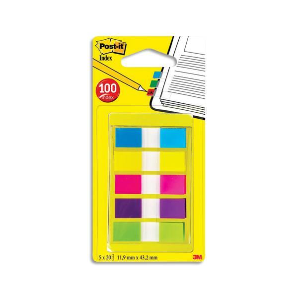 POST-IT Set de 5cartes de 20 index étroit neutre coloris assortis classiques 1,2 x 4,4 cm