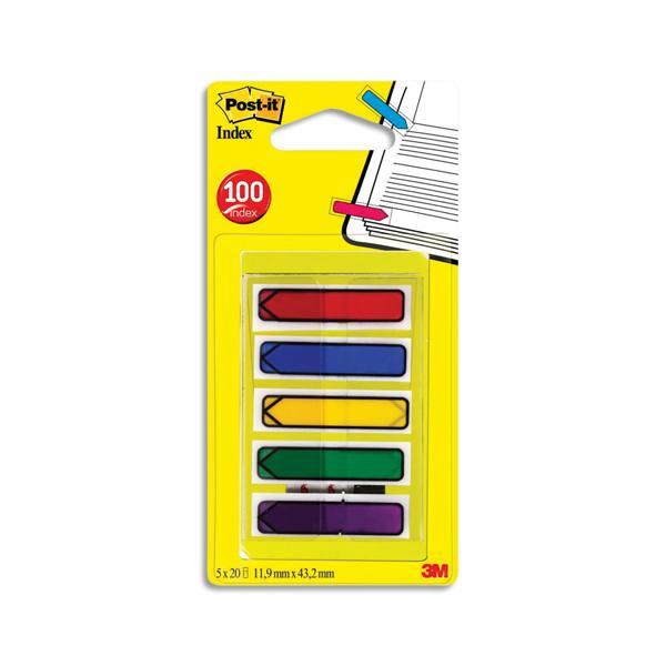 POST-IT Set de 5 cartes de 20 index étroit flèche coloris assortis classique 1,2 x 4,4 cm