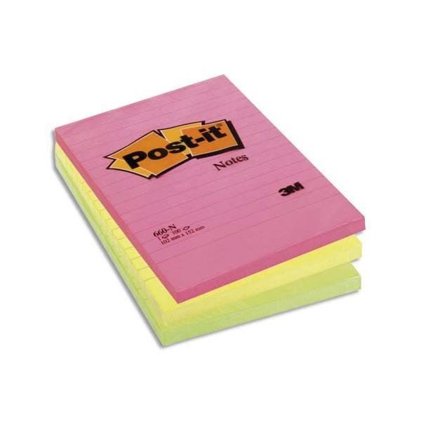 POST-IT Lot de 6 bloc repositionnable de 100 feuilles 10,2 x 15,2 cm néon assortis