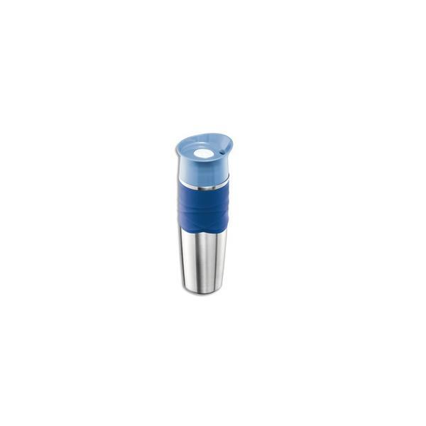 Bouteille isotherme de la gamme Picnik couleur gris acier et bleu orage, contenance de 320 ml (photo)