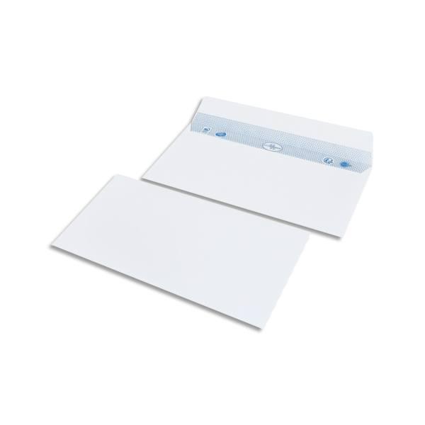 BONG Boîte de 500 enveloppes DL 110 x 220mm vélin blanc 80g auto-adhésive
