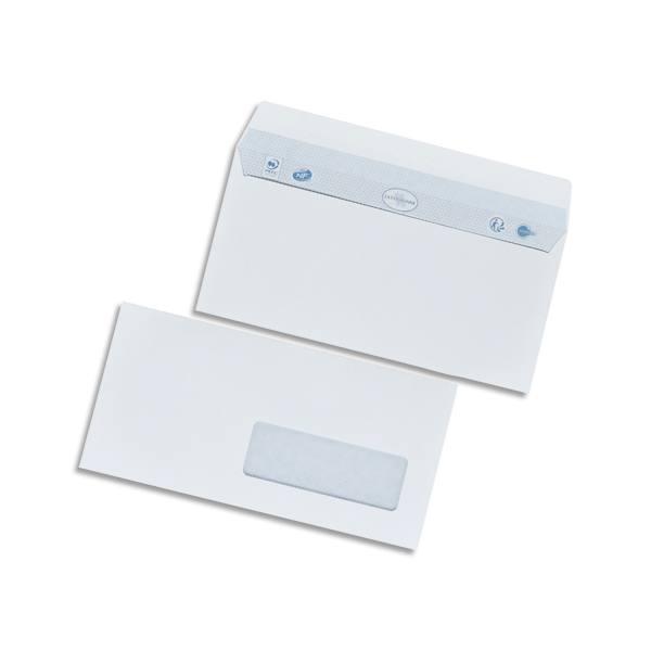 BONG Boîte de 500 enveloppes DL 110 x 220 mm vélin blanc 80g auto-adhésive fenêtre 35 x 100 mm