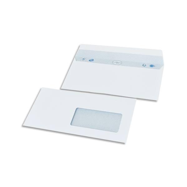 BONG Boîte de 500 enveloppes DL 110 x 220 mm vélin blanc 80g auto-adhésive fenêtre 45 x 100 mm