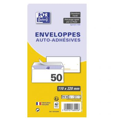 OXFORD Paquet de 50 enveloppes pré-casées blanches auto-adhésives 80g format 110 x 220 mm