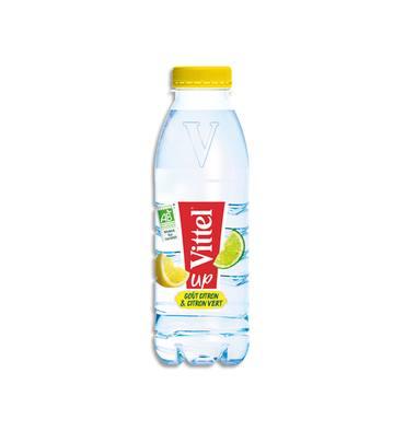 Eau plate Vittel de la gamme VITTEL UP saveur citron et citron vert, bouteille en plastique de 50 cl