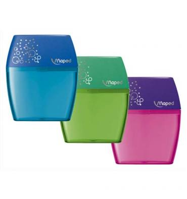 MAPED Taille-crayons Shaker 2 trous - coloris violet, rouge, bleu