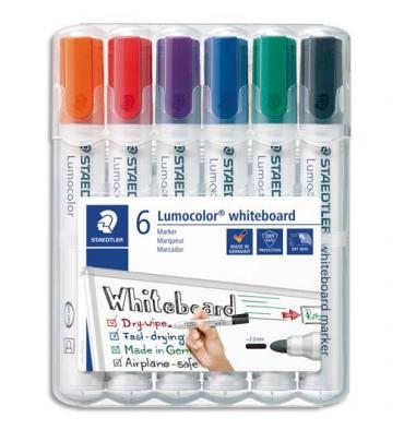 STAEDTLER Etui de 6 marqueurs LUMOCOLOR 351 effaçable à sec. Coloris assortis