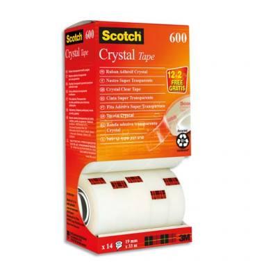 SCOTCH Tour de 14 rouleaux de ruban Crystal.,19 mm x 33 m