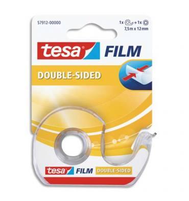 TESA Rouleau d'adhésif double face transparent sur dévidoir, format 7,5 m x 12 mm