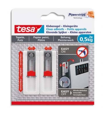 TESA Blister de 2 clous adhésif ajustable pour petit appareil -0,5kg