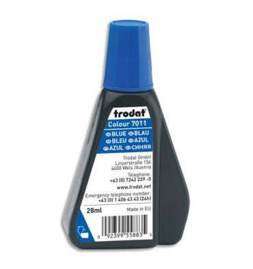 TRODAT Encre à tampon sans huile pour recharger tampons encreurs. Flacon de 28ml Bleu