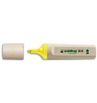 EDDING Surligneur jaune Ecoline 24. Biseautée. Trait 2 à 5 mm. Fabriqué à 90% de ressources renouvelables